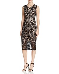 Aqua Criss Cross Lace Dress Black Nude
