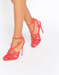 Asos Perry Caged Heels Coral Orange