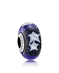 Pandora Design Charm Murano Glass Cubic Zirconia And Sterling Silver Starry Night Moments Collection Blue Silver