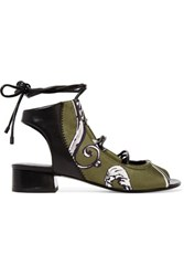 3.1 Phillip Lim Drum Leather Paneled Printed Satin Sandals Army Green