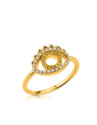Kenzo Goldtone Mini Eye Ring W Crystals