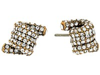 Marc Jacobs Pave Twisted Studs Earrings Crystal Antique Gold