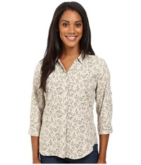 Royal Robbins Expedition Stretch 3 4 Sleeve Print Light Khaki Women's Clothing