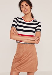 Missguided Tan Faux Suede Stitch Front A Line Mini Skirt