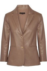 The Row Nolbon Bonded Stretch Leather Blazer Mushroom