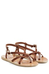 Ancient Greek Sandals Leather Flat Sandals Brown