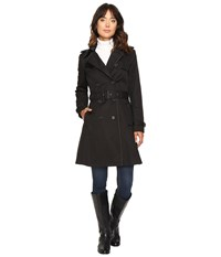 Lauren Ralph Lauren Double Breasted Trench W Faux Leather Trim Black Women's Coat