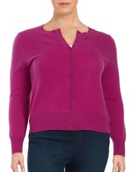 Lord And Taylor Plus Cashmere Button Front Cardigan Cosmos Purple
