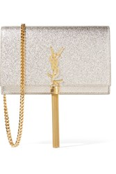 Saint Laurent Monogramme Kate Small Metallic Textured Leather Shoulder Bag Silver