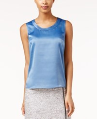 Kasper Charmeuse Sleeveless Shell Light Blue
