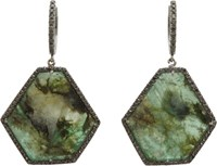 Monique Pean Atelier Pave Black Diamond And Emerald Drop Earrings Colorl Colorless