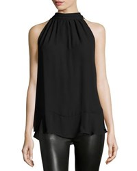 Max Studio Tie Neck Sleeveless Blouse Black