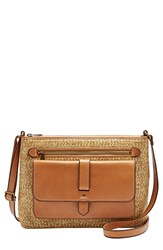 Fossil 'Medium Kinley' Leather And Straw Crossbody Bag