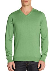 Saks Fifth Avenue Silk Cotton And Cashmere V Neck Sweater Light Green