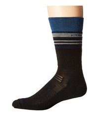 Icebreaker Hike Medium Crew Black Equinox Heather Twister Heather Men's Crew Cut Socks Shoes Black Equinox Heather Twister Heather