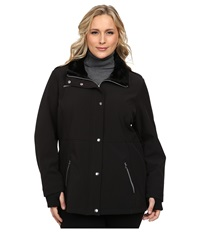 Jessica Simpson Plus Size Zip Front Soft Shell With Faux Fur Black Women's Clothing