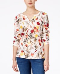 Karen Scott Floral Print Henley Top Only At Macy's Winter White
