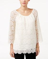 Styleandco. Style Co. Bell Sleeve Lace Top Only At Macy's Vintage Cream