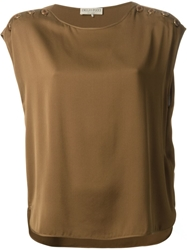Emilio Pucci Button Detail Sleeveless Blouse Brown