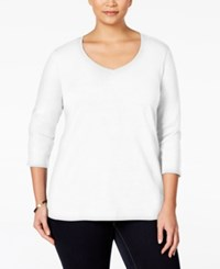 Karen Scott Plus Size V Neck T Shirt Only At Macy's Bright White