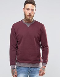 Lee Crew Sweatshirt Maroon 2 Tone Maroon Port Red