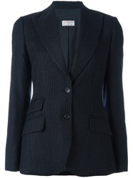 Alberto Biani Pinstriped Fitted Jacket Blue