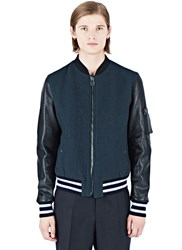 Lanvin Leather Bomber Jacket Teal
