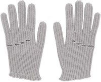 Maison Martin Margiela Grey Wool Rib Knit Gloves