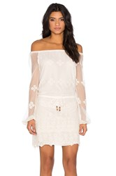 Chaser Vintage Lace Off Shoulder Long Sleeve Mini Dress White