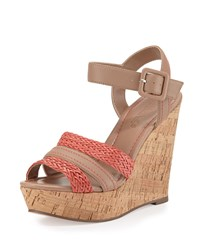 Charles By Charles David Renata Leather Wedge Sandal Nude Coral