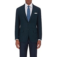 Kiton Men's Plaid Two Button Sportcoat Dark Green