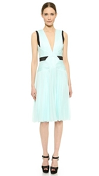 J. Mendel V Neck Pleated Dress Mint