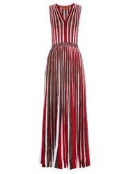 Missoni Sleeveless Striped Knit Gown Red Multi