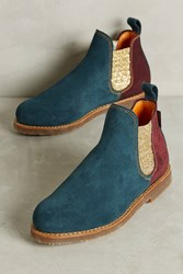 Anthropologie Penelope Chilvers Safari Patchwork Boots Navy