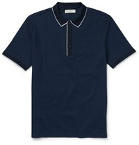 Burberry London Slim Fit Cotton Pique Polo Shirt Blue
