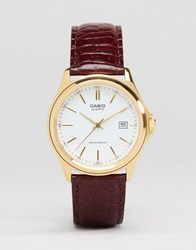 Casio Analogue Leather Watch In Brown Mtp1183q 7A Brown