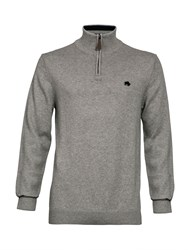 Raging Bull Knitted Quarter Zip Grey Marl