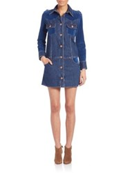 See By Chloe Long Sleeve Button Front Denim Dress Washed Indigo