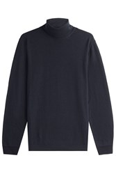 Baldessarini Virgin Wool Turtleneck Pullover Blue