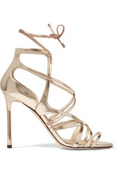 Jimmy Choo Tess Metallic Leather Sandals Gold