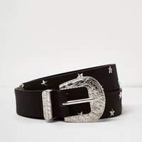River Island Womens Black Star Studded Western Belt