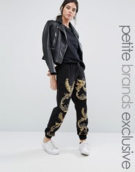 Starry Eyed Petite Joggers With Gold Bird Beaded Applique Black