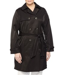 Laundry By Design Plus Eyelet Belt Double Breasted Trenchcoat Black