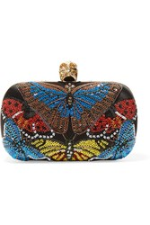 Alexander Mcqueen Skull Sequined Satin Box Clutch Blue