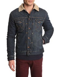 Wrangler Denim Jacket With Blue Sherpa Lining