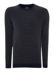 Peter Werth Leopold Bubble Knit Crew Neck Jumper Navy