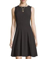 Chetta B Zip Front Sleeveless Fit And Flare Dress Black