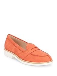 Tod's Suede Penny Loafers Orange