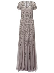 Adrianna Papell Cap Sleeve Beaded Gown With Godets Platinum