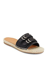 Rag And Bone Jules Leather Espadrille Slide Sandals Black
